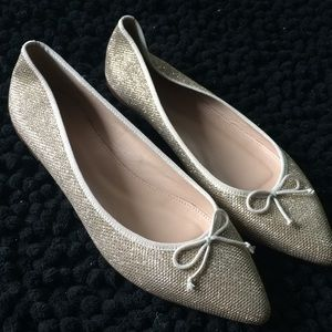 J Crew gold glitter pointy toe ballet flats sz 8